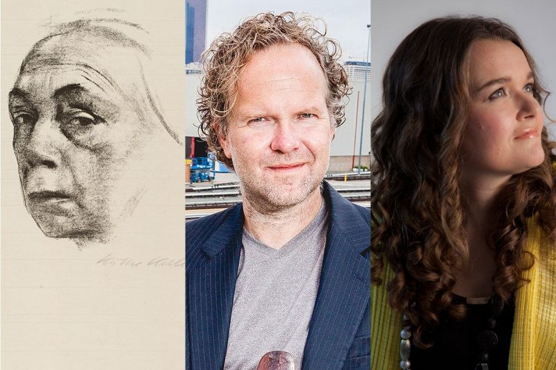 self portrait of artist Kathe Kollwitz in lithograph on paper; headshot of musician Steven Thachuk, headshot of vocalist Anne Harley