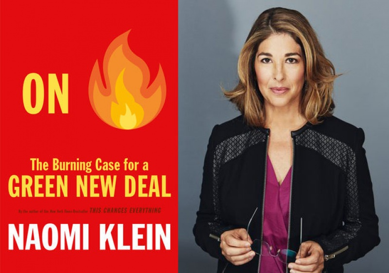 Naomi Klein and book cover for The Burning Case for a Green New Deal