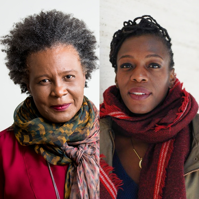 Headshots of speakers Claudia Rankine and Gariva Bailey in tones of red and green