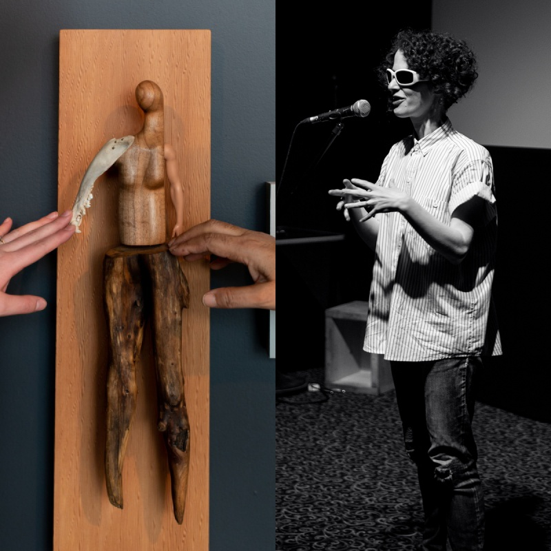 "Image split into two: On the left a photo of two hands outside the frame reaching to touch a sculpture by Persimmon Blackbridge. The piece is titled ""Soft Touch"", and is a handcrafted figure made of wood, bone and plastic to resemble a person constructed from found objects. It is mounted on a wood panel. On the left black and white photograph figure standing at a microphone with sunglasses on and hands gesturing outwards"
