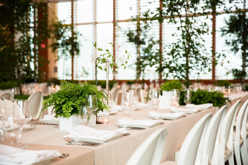 long tables set with green plants in vases