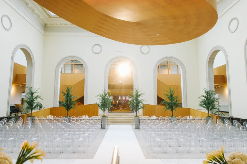 chairs set for wedding ceremony in Walker Court