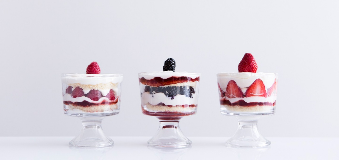 three berry desserts