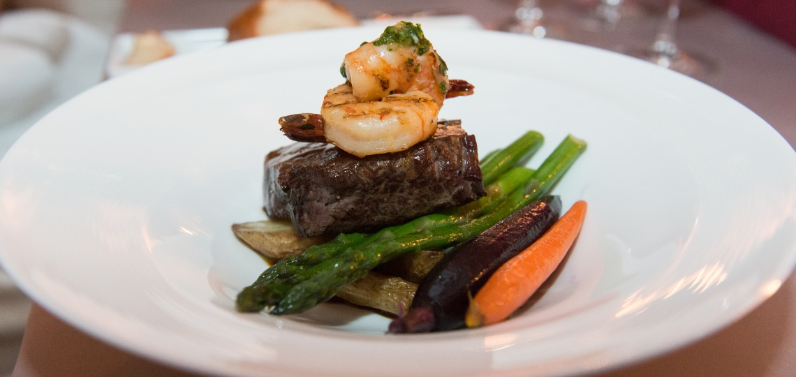 Steak and shrimp entrée