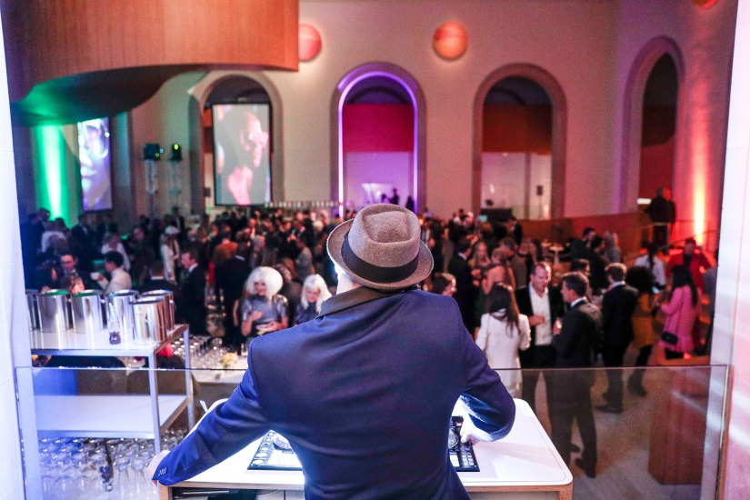 a view of art bash from the dj booth