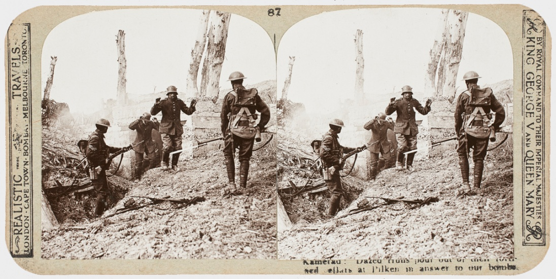 wwi stereograph scene with troops surrendering