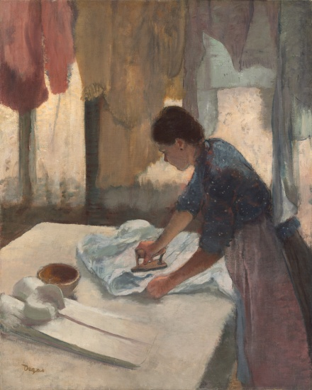 a painting of a woman ironing