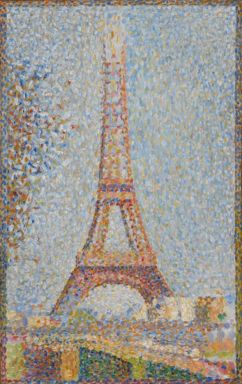 A painting of the eiffel tower by seurat