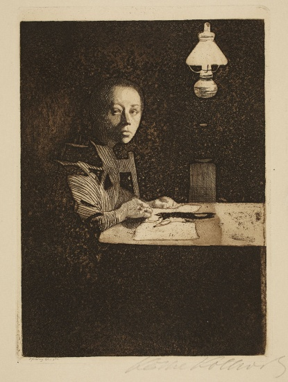 Käthe Kollwitz, Self-portrait at the table