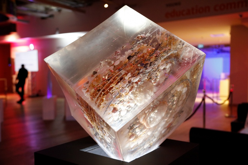Orgonite cube displayed on angle