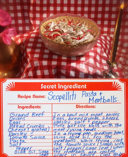 scopelliti pasta and meatballs made of paper