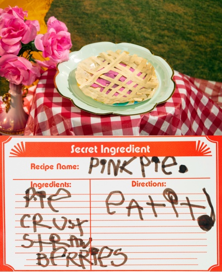 pink pie made of paper