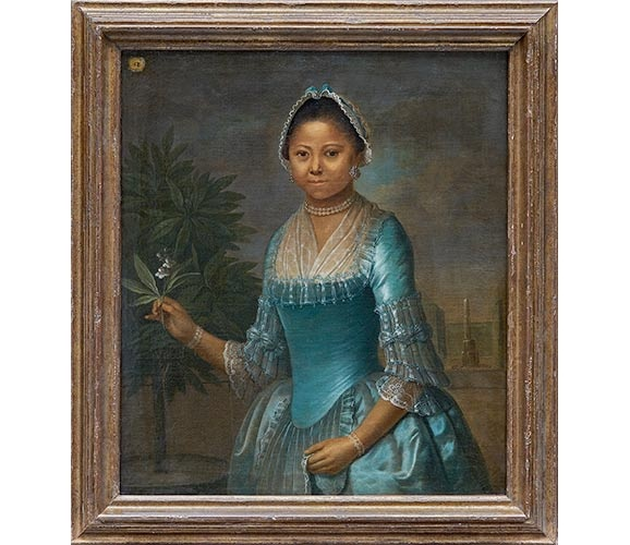 Portrait of a Lady Holding an Orange Blossom